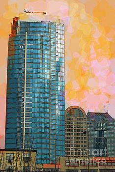 Blue skyscraper Seattle by Yulia Kazansky