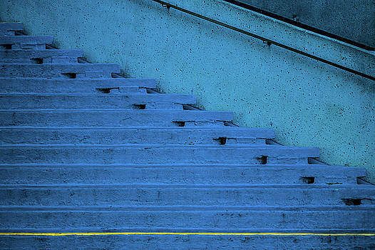 Blue Stairs Yellow line San Francisco by David Smith
