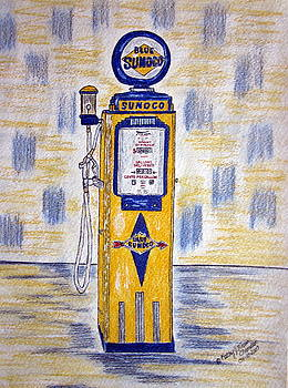 Blue Sunoco Gas Pump by Kathy Marrs Chandler