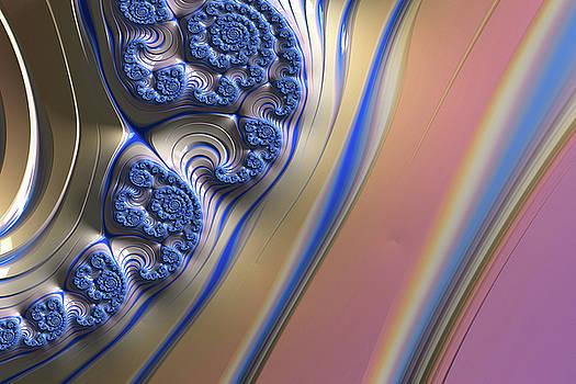 Blue Swirly Fractal 2 by Bonnie Bruno