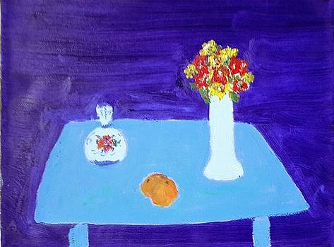 Blue Table with Fruit and Flowers by Bernard Victor