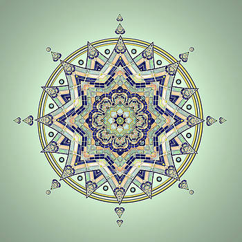 Blue Tile Star Mandala by Deborah Smith