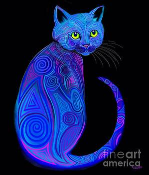 Blue Tribal Cat by Nick Gustafson