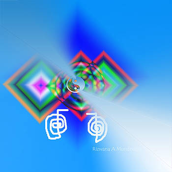 Rizwana Mundewadi - Blue Triple Interconnected Squares