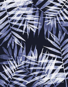 Blue Tropical Leaves by Emanuela Carratoni