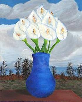 Blue Vase With Calla Lillies by Michael Montgomery