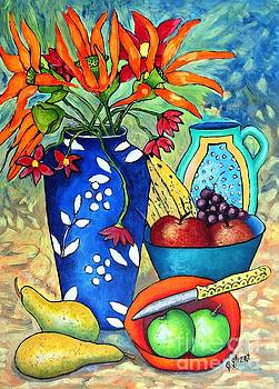 Caroline Street - Blue Vase with Orange Flowers