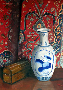 Blue Vase with Oriental Rug by Helen Albritton