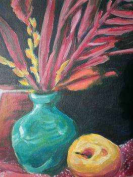 Blue VAse with Red  by Aleksandra Buha