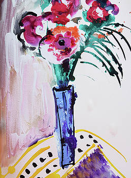 Blue vase with red wild flowers by Amara Dacer