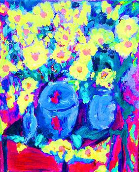 Blue Vases Yellow Blooms by Lynn Rogers