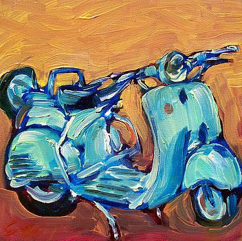 Blue Vespa by Sheila Tajima