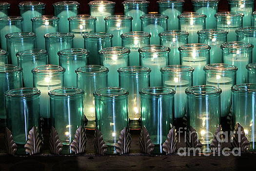 Blue Votives Quebec by Linda Queally