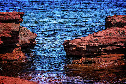 Blue Water Between Red Stone by Chris Bordeleau