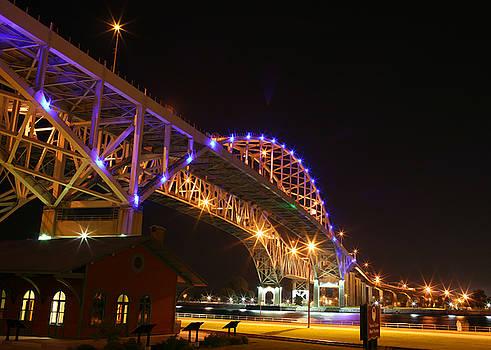 Blue Water Bridge at night by Paul Bartoszek
