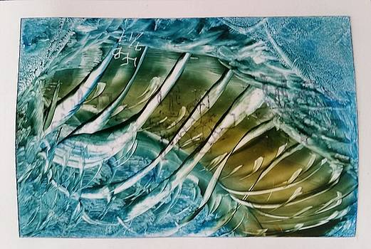 Blue white green abstract by Lorraine Bradford