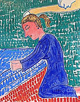 Blue Woman Praying  by Richard W Linford