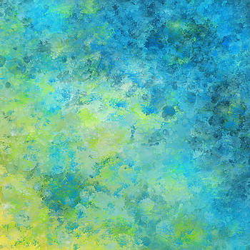 Blue Yellow Abstract Beach Fizz by Michelle Wrighton