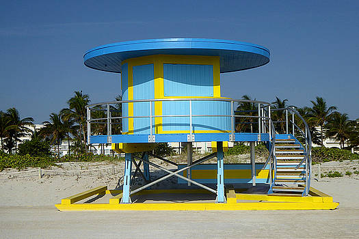 Blue Yellow Miami Beach Hut by Art America Gallery Peter Potter