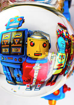 Blue Yellow Robots by Garry Gay
