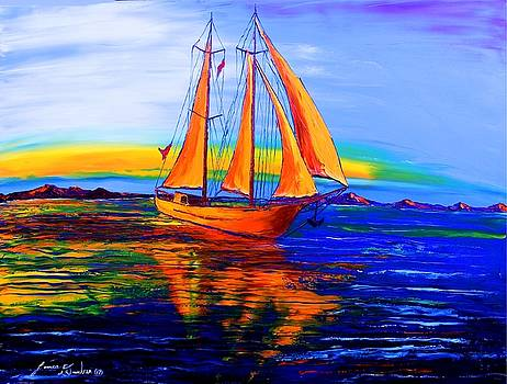 Blue Yellow Sails #1 by Portland Art Creations
