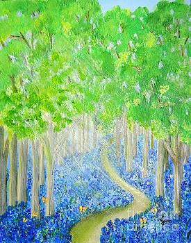 Bluebell Wood with Butterflies by Karen Jane Jones