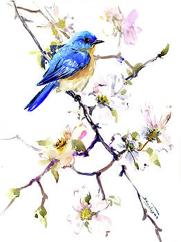 Bluebird and Dogwood by Suren Nersisyan
