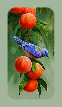 Crista Forest - Bluebird and Peach Tree iPhone Case