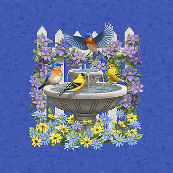 Crista Forest - Bluebird Goldfinch Birdbath Garden Royal Blue