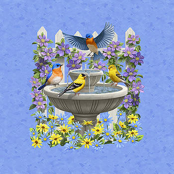 Crista Forest - Bluebird Goldfinch Birdbath Garden Light Blue