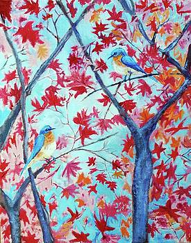 Bluebirds in the Red Maple Tree by Jeannie Allerton