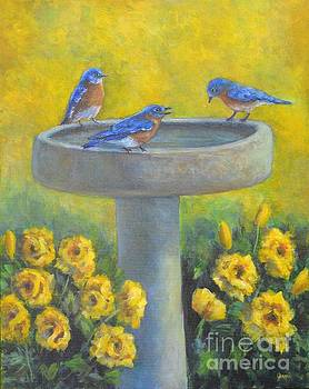 Bluebirds on Birdbath by Jana Baker