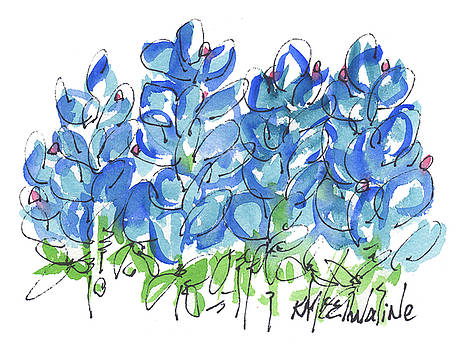 Bluebonnet Dance Whimsey,by Kathleen McElwaine Southern Charm print watercolor, painting, by Kathleen McElwaine
