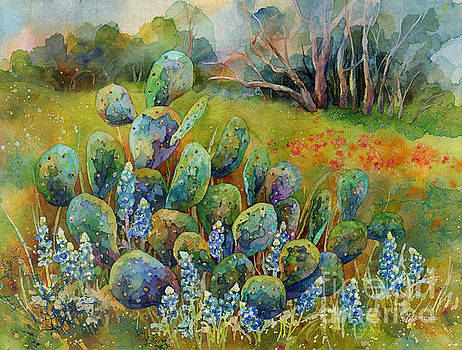 Bluebonnets and Cactus by Hailey E Herrera