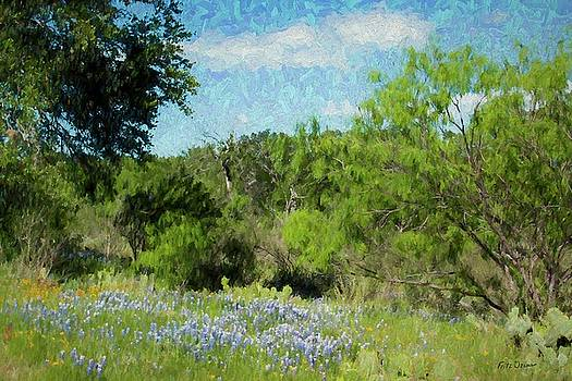 Bluebonnets Mesquite and Cactus 5549   by Fritz Ozuna