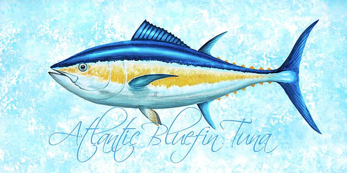 Bluefin Tuna - Blue Sponge Background by Guy Crittenden