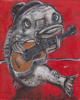 Blues Cat on Guitar by Robert Wolverton Jr