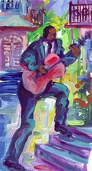 Blues Man on Steps by Saundra Bolen Samuel