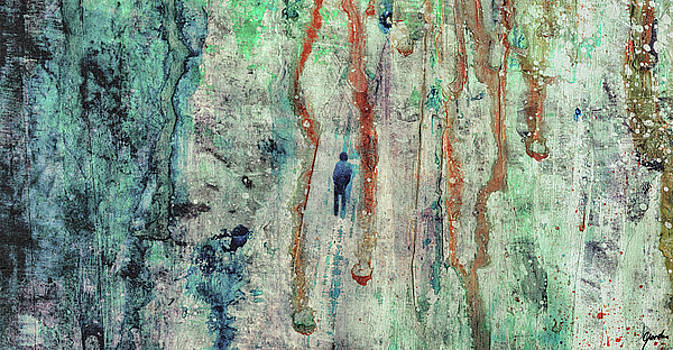 Standing In The Rain - Large Abstract Urban Style Painting by Modern Abstract