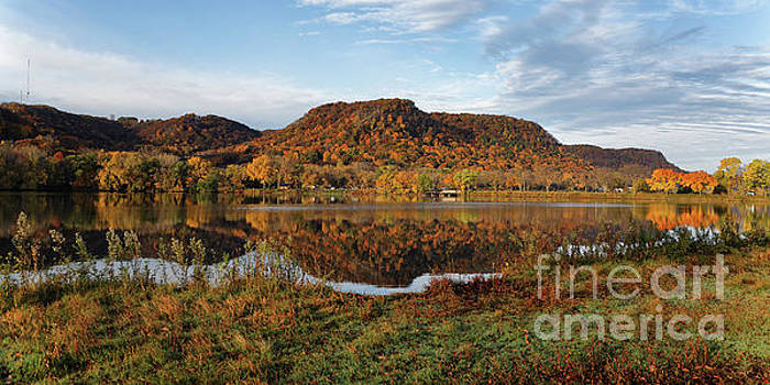 Bluff Reflection and Shoreline Agree in Winona Minnesota by Kari Yearous