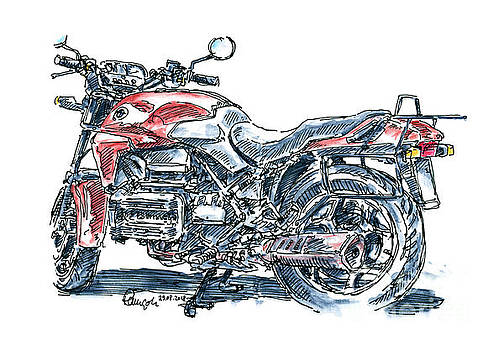 Frank Ramspott - BMW K 75 Vintage Motorcycle Ink Drawing and Watercolor