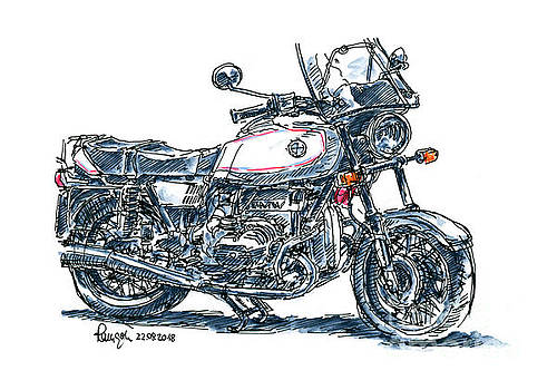 Frank Ramspott - BMW R 65 Classic Motorcycle Ink Drawing and Watercolor