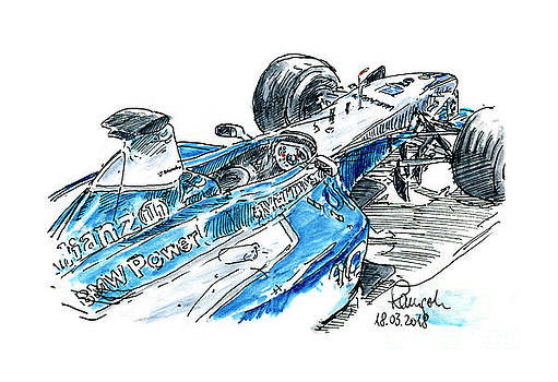 Frank Ramspott - BMW-Williams FW 23-05 F1 Racecar Ink Drawing and Watercolor
