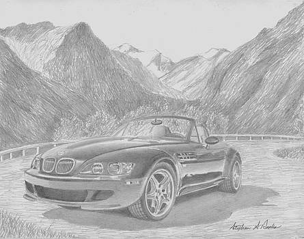 BMW z3 CLASSIC CAR ART PRINT by Stephen Rooks