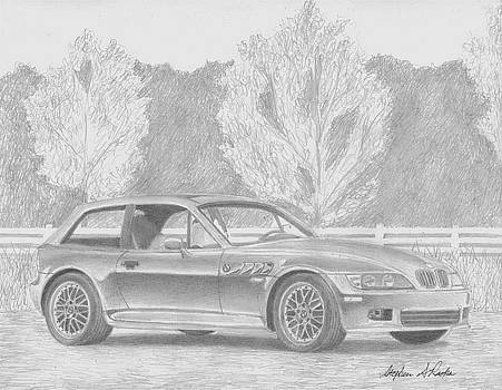 BMW z3 Coupe SPORTS CAR ART PRINT by Stephen Rooks