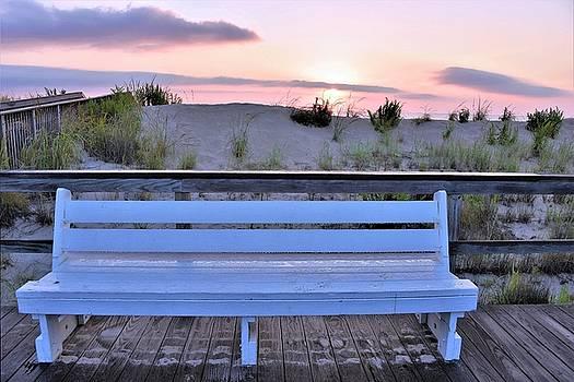 Boardwalk Bench at Sunrise by Kim Bemis