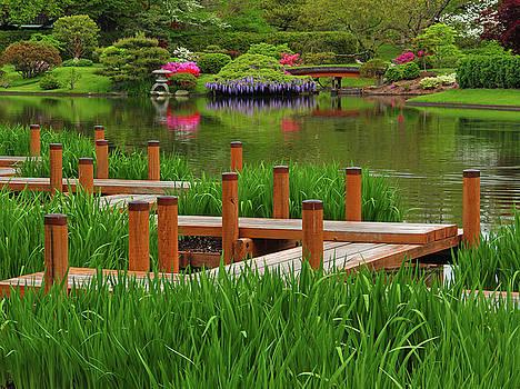 Boardwalk in Springtime In a Japanese Garden by Greg Matchick