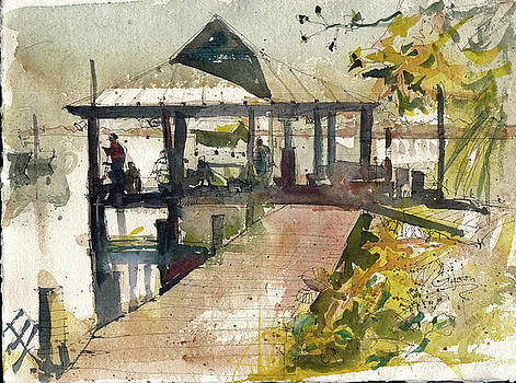 Boardwalk Sarasota Ink and Wash by Gaston McKenzie