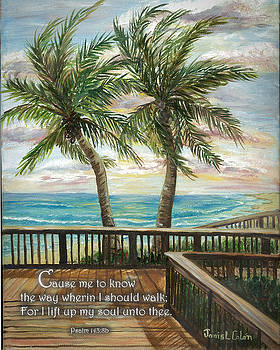Boardwalk With Two Palms Psalm 143 by Janis Lee Colon