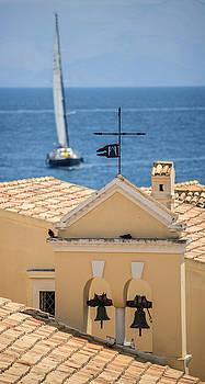 Eduardo Huelin - Boat and church in Corfu Greece
